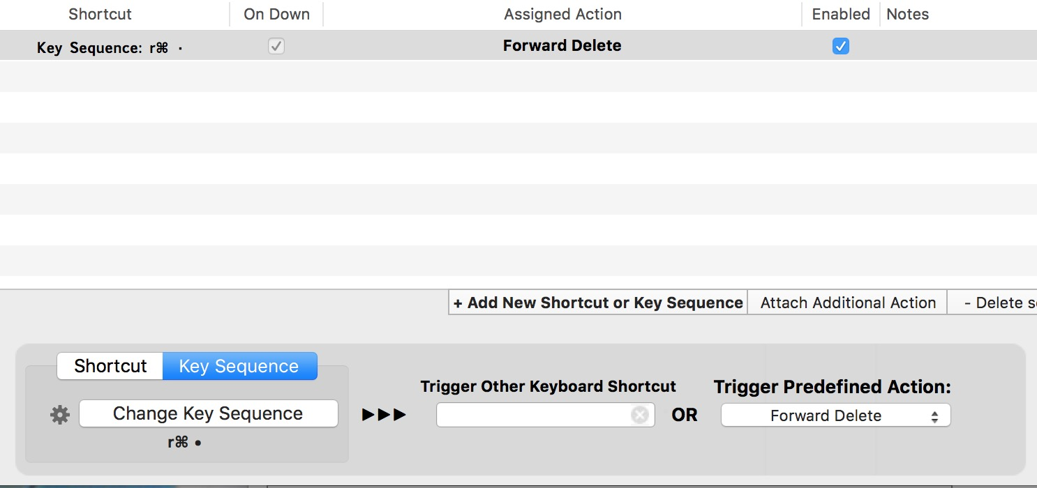 Is it possible to assign a keyboard shortcut directly to the right